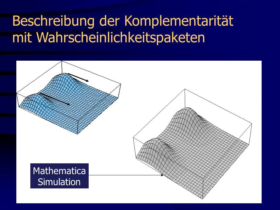 t1t1 P(x,t) = | (x,t)| 2 x Mathematica Simulation Beschreibung der Komplementarität mit Wahrscheinlichkeitspaketen Film