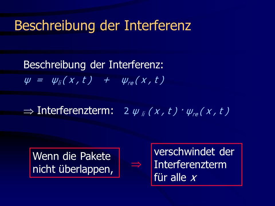 Beschreibung der Interferenz: Wenn die Pakete nicht überlappen, Interferenzterm: 2 ψ li ( x, t ) · ψ re ( x, t ) ψ = ψ li ( x, t ) + ψ re ( x, t ) verschwindet der Interferenzterm für alle x Beschreibung der Interferenz