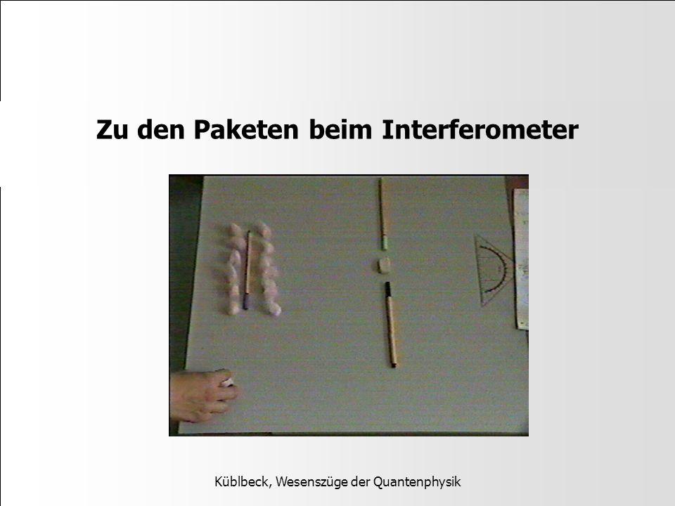 Zu den Paketen beim Interferometer Küblbeck, Wesenszüge der Quantenphysik