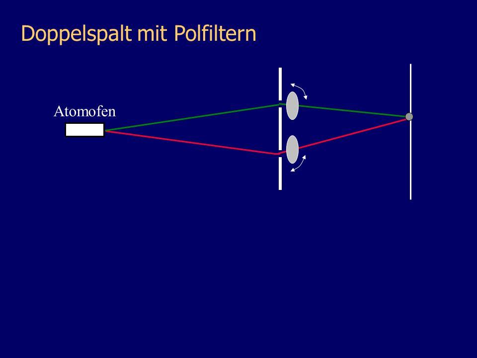Atomofen Doppelspalt mit Polfiltern