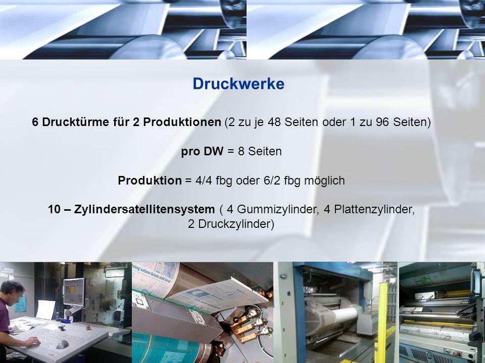 Druckwerke 6 Drucktürme für 2 Produktionen (2 zu je 48 Seiten oder 1 zu 96 Seiten) pro DW = 8 Seiten Produktion = 4/4 fbg oder 6/2 fbg möglich 10 – Zy