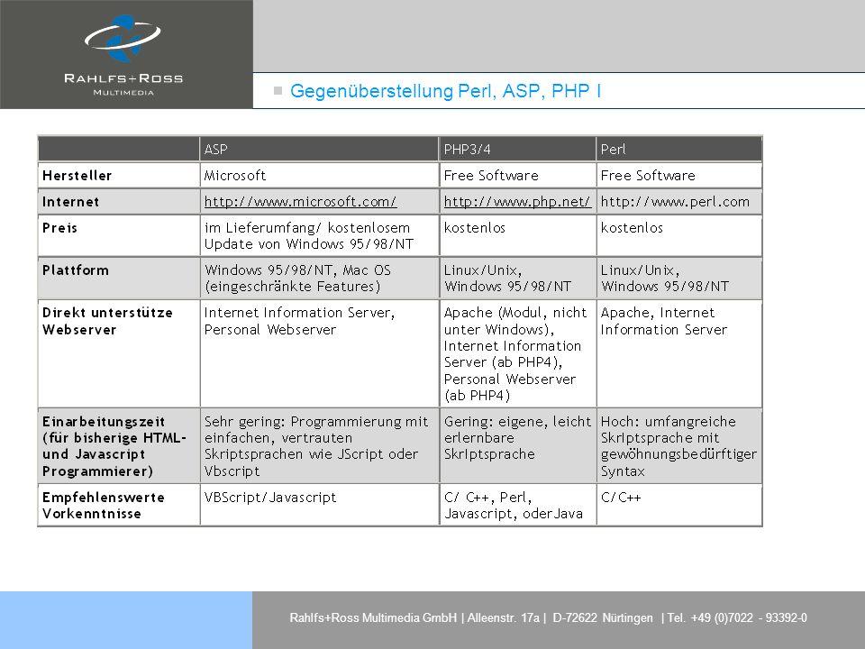 Rahlfs+Ross Multimedia GmbH | Alleenstr. 17a | D-72622 Nürtingen | Tel. +49 (0)7022 - 93392-0 Gegenüberstellung Perl, ASP, PHP I