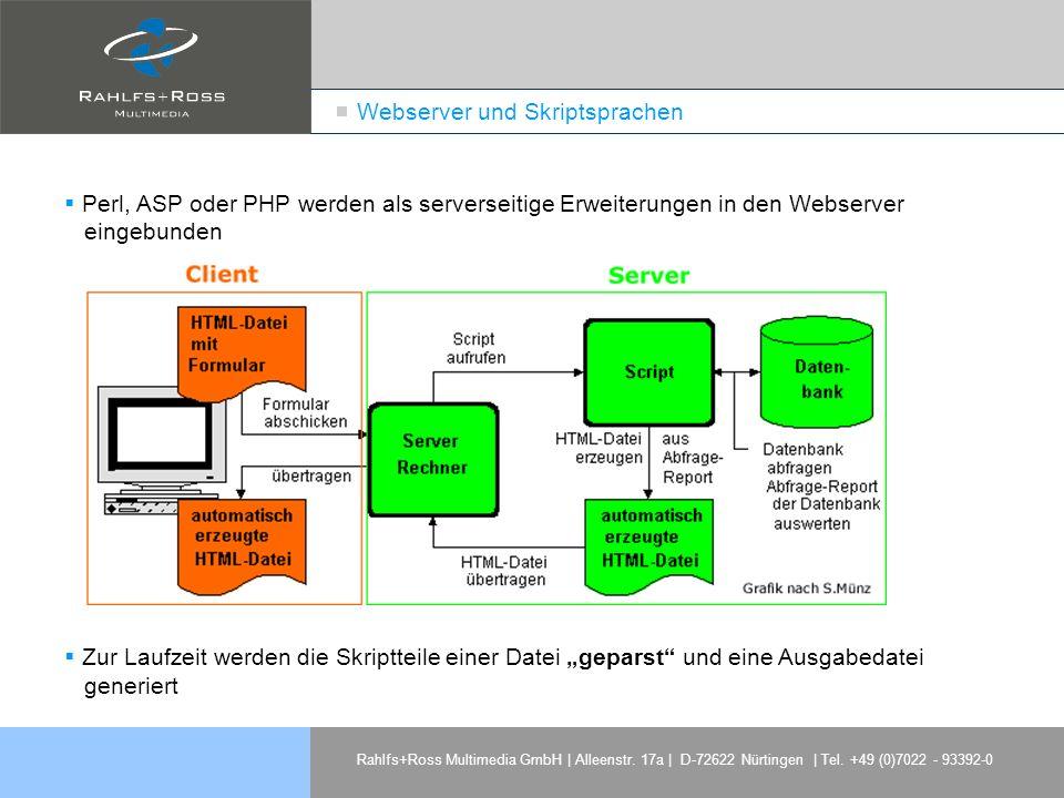 Rahlfs+Ross Multimedia GmbH | Alleenstr. 17a | D-72622 Nürtingen | Tel. +49 (0)7022 - 93392-0 Webserver und Skriptsprachen Perl, ASP oder PHP werden a