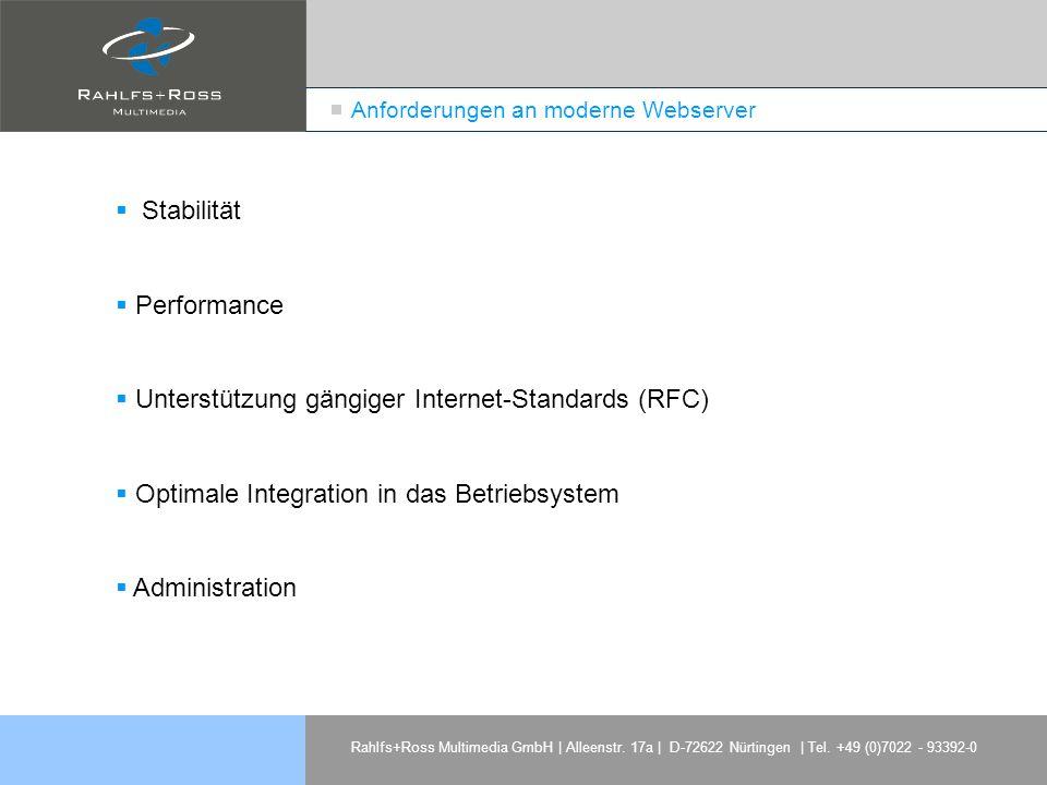 Rahlfs+Ross Multimedia GmbH | Alleenstr. 17a | D-72622 Nürtingen | Tel. +49 (0)7022 - 93392-0 Anforderungen an moderne Webserver Stabilität Performanc
