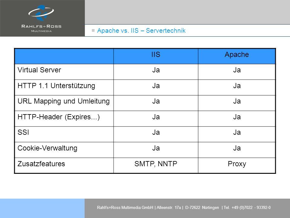 Rahlfs+Ross Multimedia GmbH | Alleenstr. 17a | D-72622 Nürtingen | Tel. +49 (0)7022 - 93392-0 Apache vs. IIS – Servertechnik IISApache Virtual ServerJ