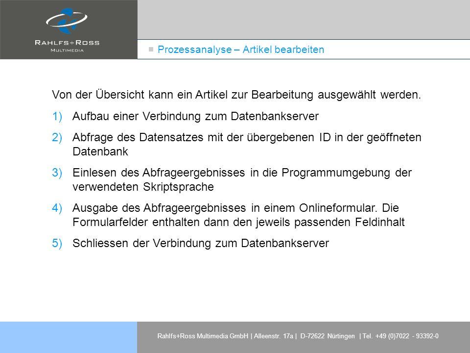 Rahlfs+Ross Multimedia GmbH | Alleenstr. 17a | D-72622 Nürtingen | Tel. +49 (0)7022 - 93392-0 Prozessanalyse – Artikel bearbeiten Von der Übersicht ka