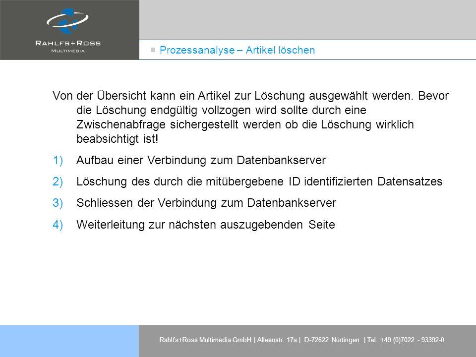 Rahlfs+Ross Multimedia GmbH | Alleenstr. 17a | D-72622 Nürtingen | Tel. +49 (0)7022 - 93392-0 Prozessanalyse – Artikel löschen Von der Übersicht kann