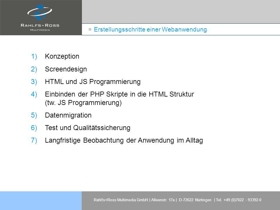 Rahlfs+Ross Multimedia GmbH | Alleenstr. 17a | D-72622 Nürtingen | Tel. +49 (0)7022 - 93392-0 Erstellungsschritte einer Webanwendung 1)Konzeption 2)Sc