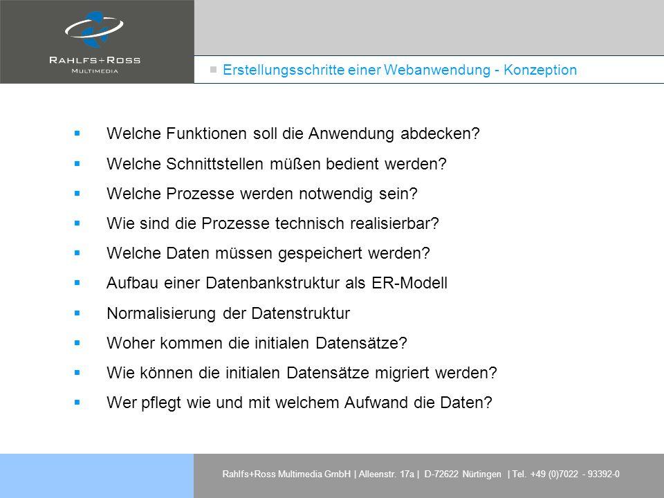 Rahlfs+Ross Multimedia GmbH | Alleenstr. 17a | D-72622 Nürtingen | Tel. +49 (0)7022 - 93392-0 Erstellungsschritte einer Webanwendung - Konzeption Welc