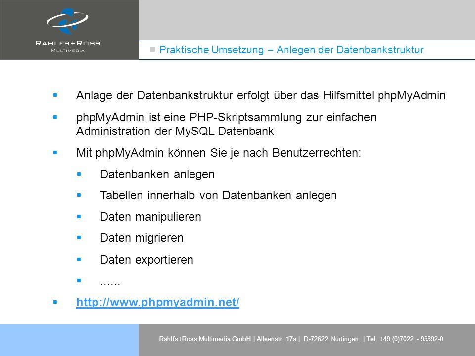 Rahlfs+Ross Multimedia GmbH | Alleenstr. 17a | D-72622 Nürtingen | Tel. +49 (0)7022 - 93392-0 Praktische Umsetzung – Anlegen der Datenbankstruktur Anl