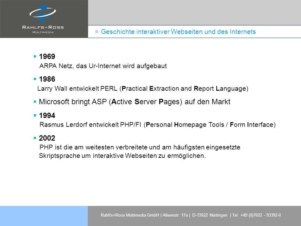 Rahlfs+Ross Multimedia GmbH | Alleenstr. 17a | D-72622 Nürtingen | Tel. +49 (0)7022 - 93392-0 1969 ARPA Netz, das Ur-Internet wird aufgebaut 1986 Larr