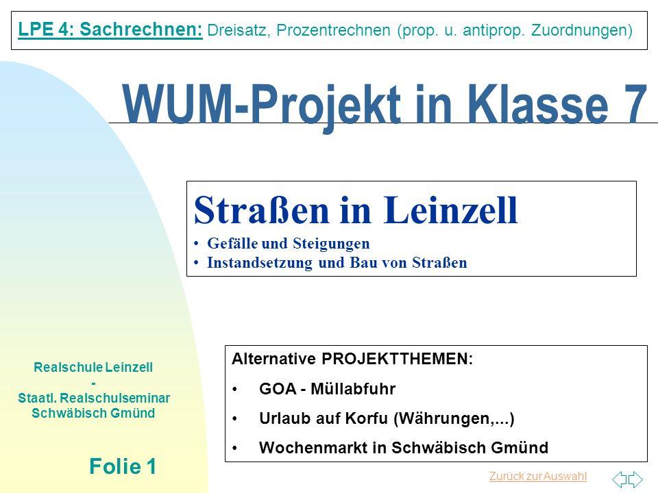 Zurück zur Auswahl Realschule Leinzell - Staatl. Realschulseminar Schwäbisch Gmünd Folie 1 WUM-Projekt in Klasse 7 LPE 4: Sachrechnen: Dreisatz, Proze