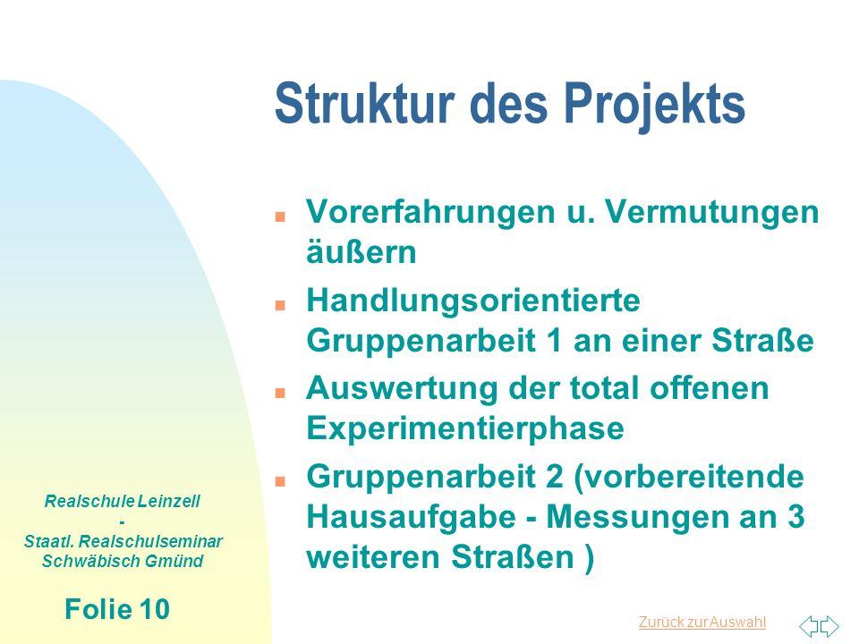 Zurück zur Auswahl Realschule Leinzell - Staatl. Realschulseminar Schwäbisch Gmünd Folie 10 Struktur des Projekts n Vorerfahrungen u. Vermutungen äuße