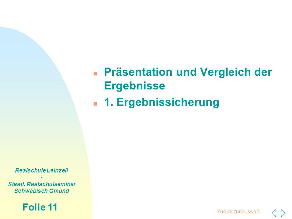 Zurück zur Auswahl Realschule Leinzell - Staatl. Realschulseminar Schwäbisch Gmünd Folie 11 n Präsentation und Vergleich der Ergebnisse n 1. Ergebniss