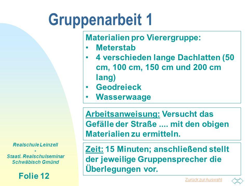 Zurück zur Auswahl Realschule Leinzell - Staatl. Realschulseminar Schwäbisch Gmünd Folie 12 Gruppenarbeit 1 Materialien pro Vierergruppe: Meterstab 4