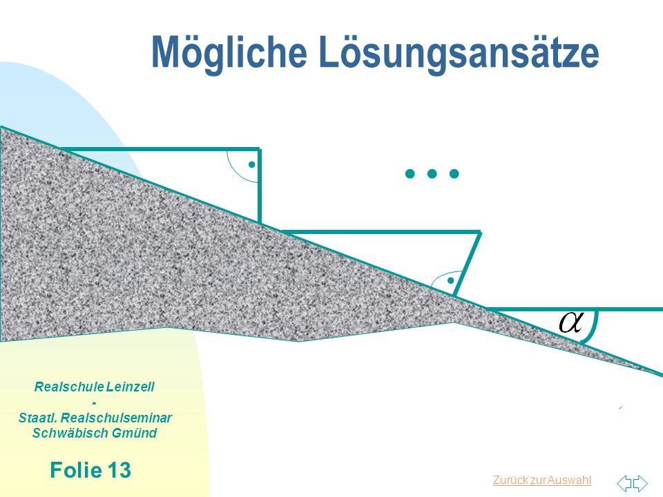 Zurück zur Auswahl Realschule Leinzell - Staatl. Realschulseminar Schwäbisch Gmünd Folie 13 Mögliche Lösungsansätze.....