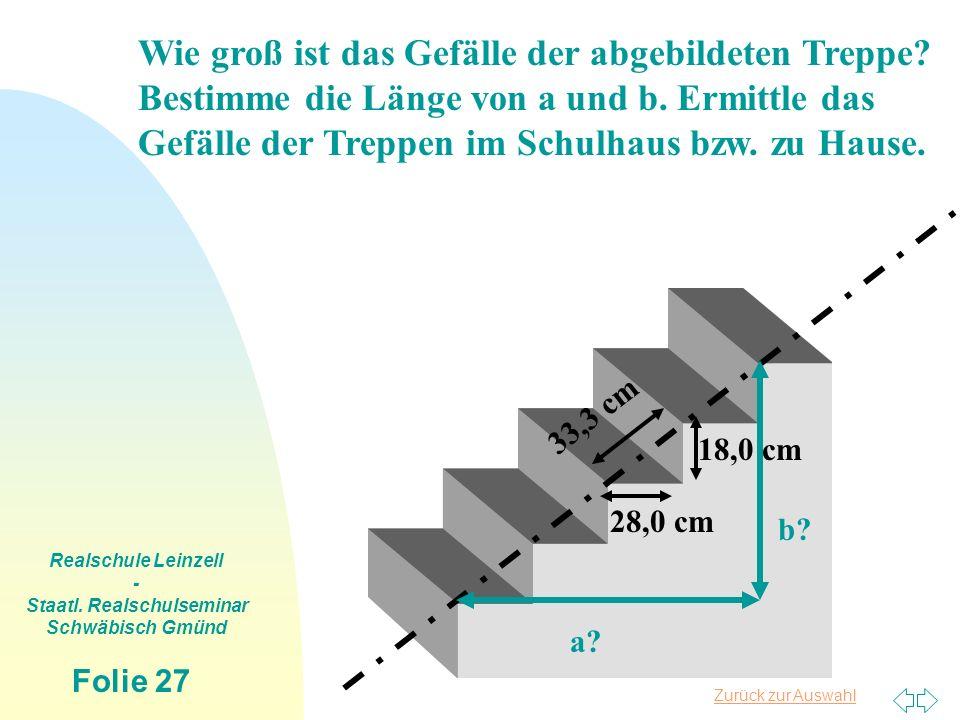 Zurück zur Auswahl Realschule Leinzell - Staatl. Realschulseminar Schwäbisch Gmünd Folie 27 Wie groß ist das Gefälle der abgebildeten Treppe? Bestimme