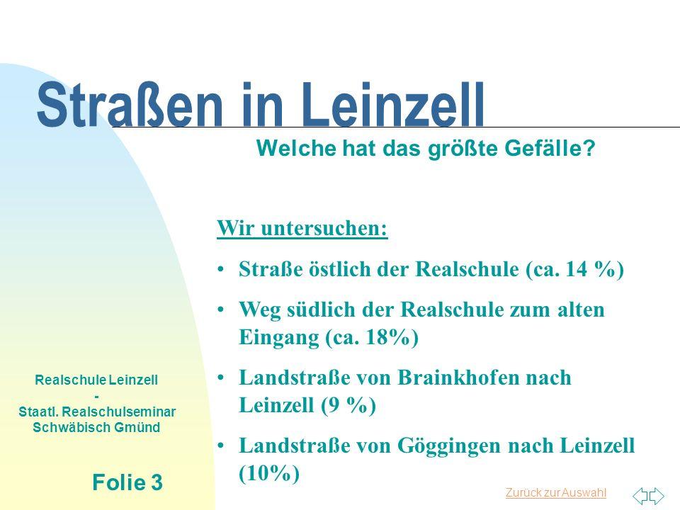 Zurück zur Auswahl Realschule Leinzell - Staatl. Realschulseminar Schwäbisch Gmünd Folie 3 Straßen in Leinzell Welche hat das größte Gefälle? Wir unte