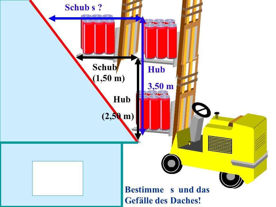 Schub (1,50 m) Schub s ? Hub 3,50 m Hub (2,50 m) Bestimme s und das Gefälle des Daches!