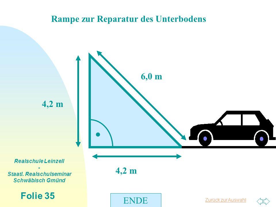 Zurück zur Auswahl Realschule Leinzell - Staatl. Realschulseminar Schwäbisch Gmünd Folie 35 Rampe zur Reparatur des Unterbodens 6,0 m. 4,2 m ENDE