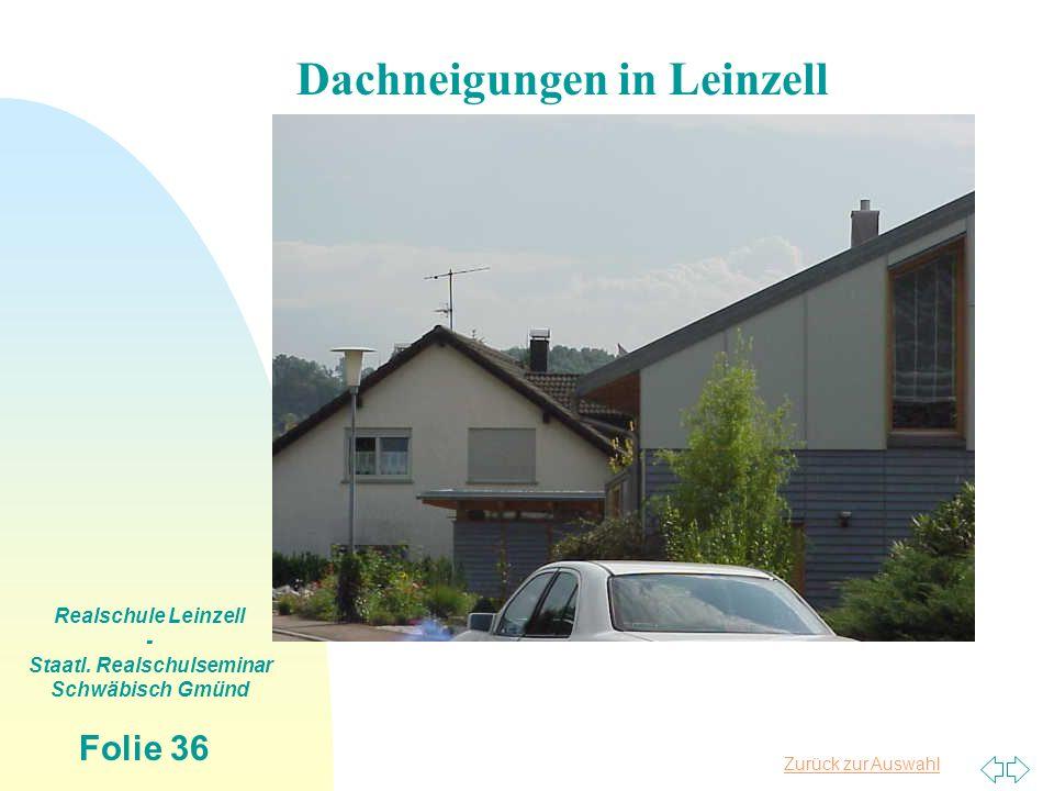 Zurück zur Auswahl Realschule Leinzell - Staatl. Realschulseminar Schwäbisch Gmünd Folie 36 Dachneigungen in Leinzell