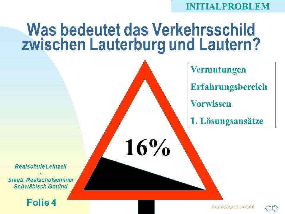 Zurück zur Auswahl Realschule Leinzell - Staatl. Realschulseminar Schwäbisch Gmünd Folie 4 Was bedeutet das Verkehrsschild zwischen Lauterburg und Lau