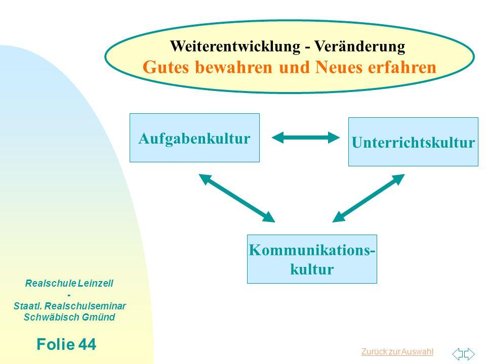 Zurück zur Auswahl Realschule Leinzell - Staatl. Realschulseminar Schwäbisch Gmünd Folie 44 Aufgabenkultur Unterrichtskultur Kommunikations- kultur We