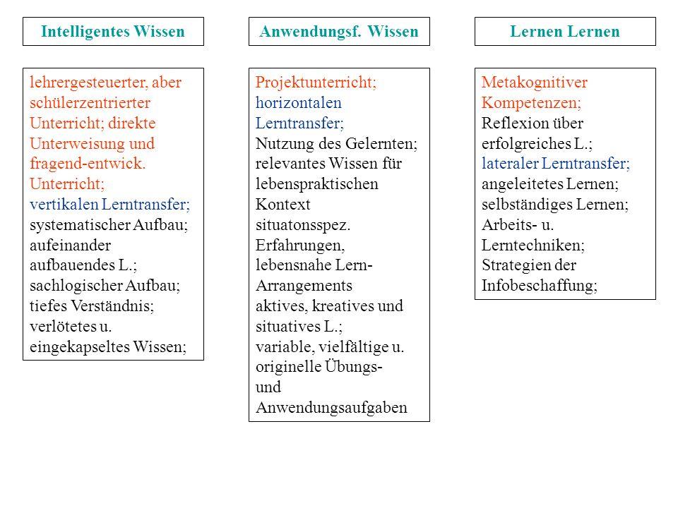 lehrergesteuerter, aber schülerzentrierter Unterricht; direkte Unterweisung und fragend-entwick. Unterricht; vertikalen Lerntransfer; systematischer A