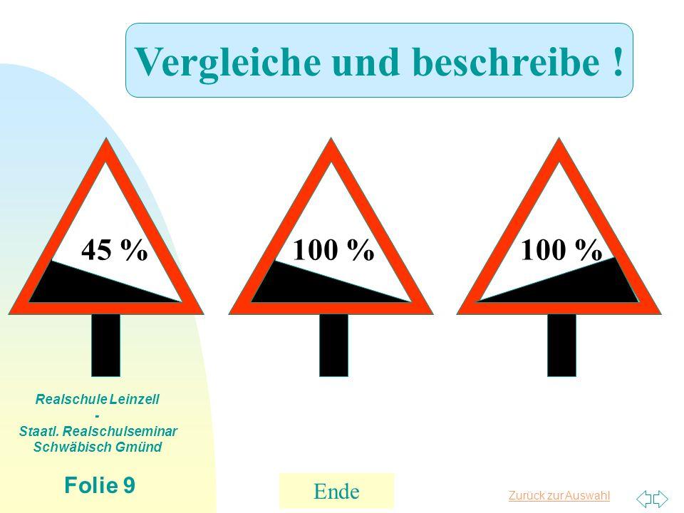 Zurück zur Auswahl Realschule Leinzell - Staatl. Realschulseminar Schwäbisch Gmünd Folie 9 45 %100 % Vergleiche und beschreibe ! Ende