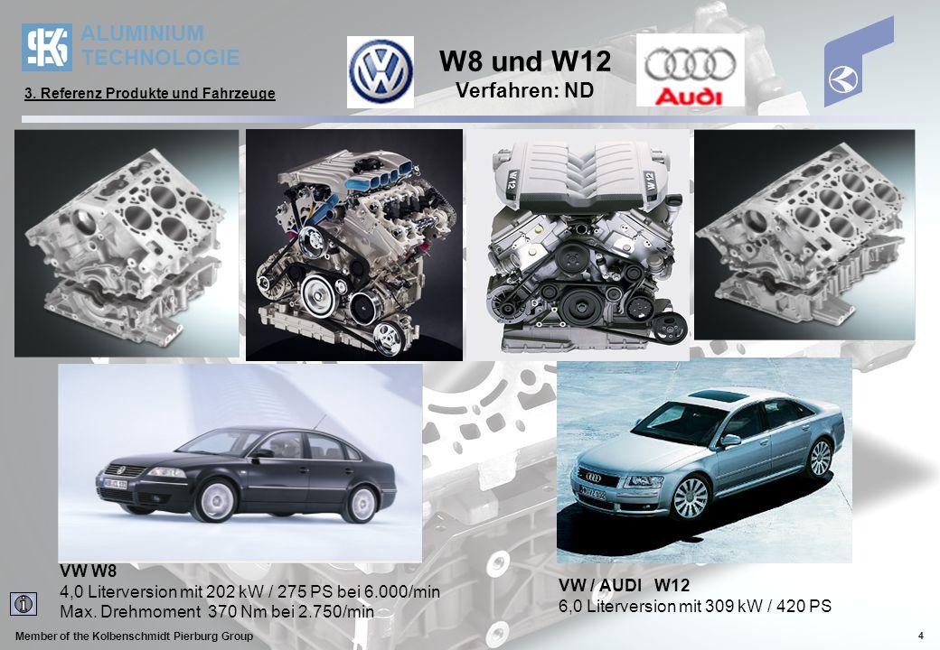 ALUMINIUM TECHNOLOGIE Member of the Kolbenschmidt Pierburg Group 4 W8 und W12 Verfahren: ND VW W8 4,0 Literversion mit 202 kW / 275 PS bei 6.000/min M