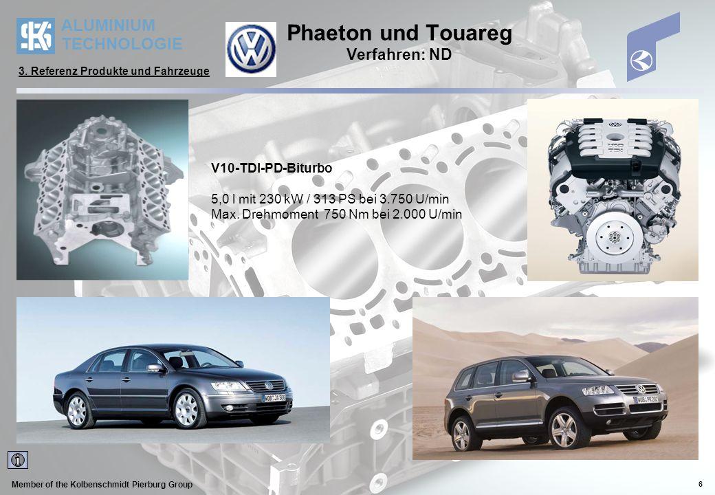 ALUMINIUM TECHNOLOGIE Member of the Kolbenschmidt Pierburg Group 7 Cayenne Verfahren: ND 8 Zylinder V Motor 4,5 Literversion mit 248 kW/ 337 PS oder 330 kW/449 PS mit TURBO 3.