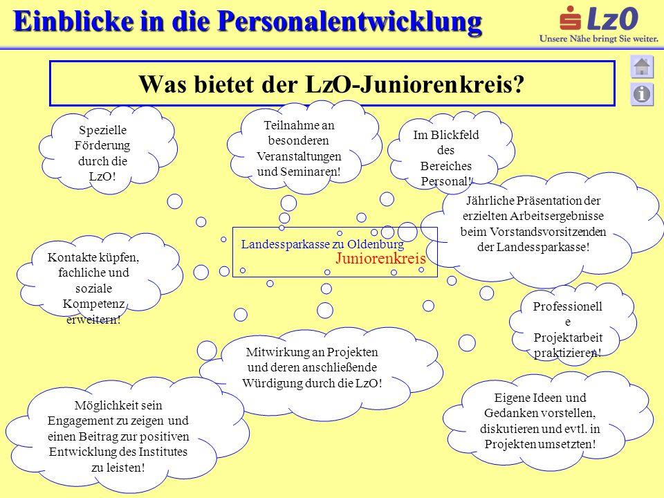 Einblicke in die Personalentwicklung Was bietet der LzO-Juniorenkreis? Jährliche Präsentation der erzielten Arbeitsergebnisse beim Vorstandsvorsitzend