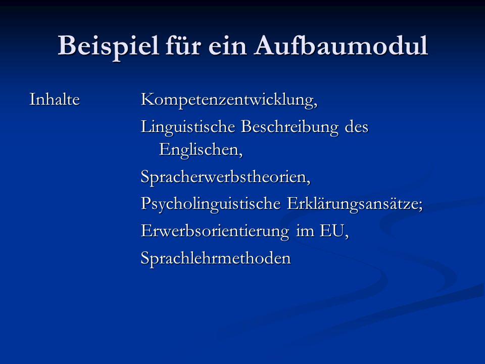 Beispiel für ein Aufbaumodul Inhalte Kompetenzentwicklung, Linguistische Beschreibung des Englischen, Spracherwerbstheorien, Psycholinguistische Erklärungsansätze; Erwerbsorientierung im EU, Sprachlehrmethoden