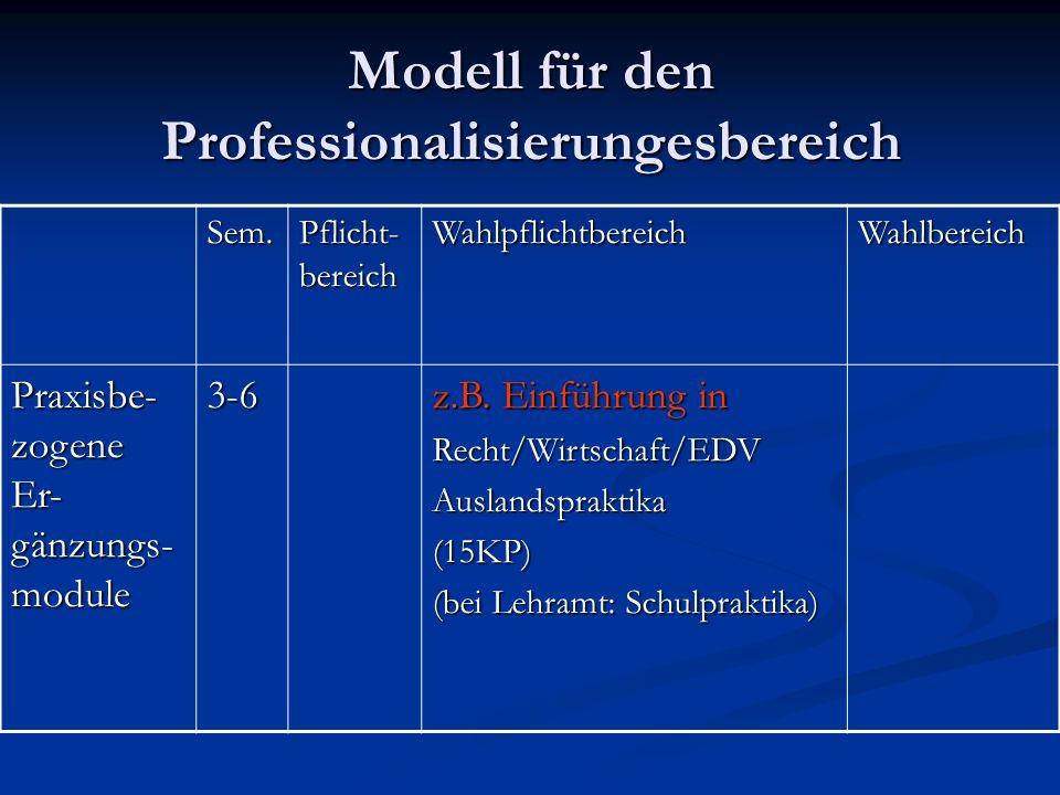 Modell für den Professionalisierungesbereich Sem.