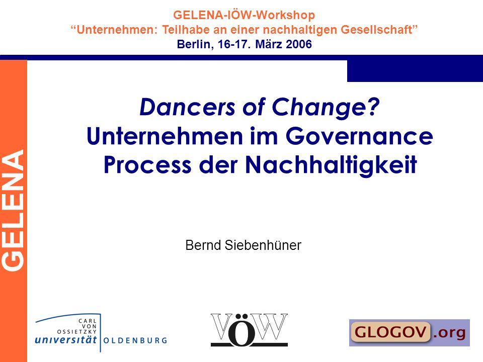 GELENA-IÖW-Workshop Unternehmen: Teilhabe an einer nachhaltigen Gesellschaft Berlin, 16-17. März 2006 GELENA Dancers of Change? Unternehmen im Governa