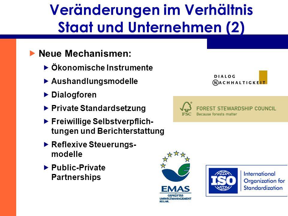 Veränderungen im Verhältnis Staat und Unternehmen (2) Neue Mechanismen: Ökonomische Instrumente Aushandlungsmodelle Dialogforen Private Standardsetzun