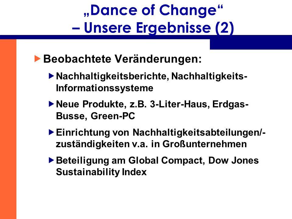 Dance of Change – Unsere Ergebnisse (2) Beobachtete Veränderungen: Nachhaltigkeitsberichte, Nachhaltigkeits- Informationssysteme Neue Produkte, z.B. 3