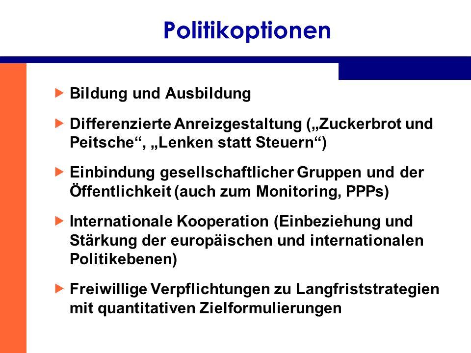 Politikoptionen Bildung und Ausbildung Differenzierte Anreizgestaltung (Zuckerbrot und Peitsche, Lenken statt Steuern) Einbindung gesellschaftlicher G