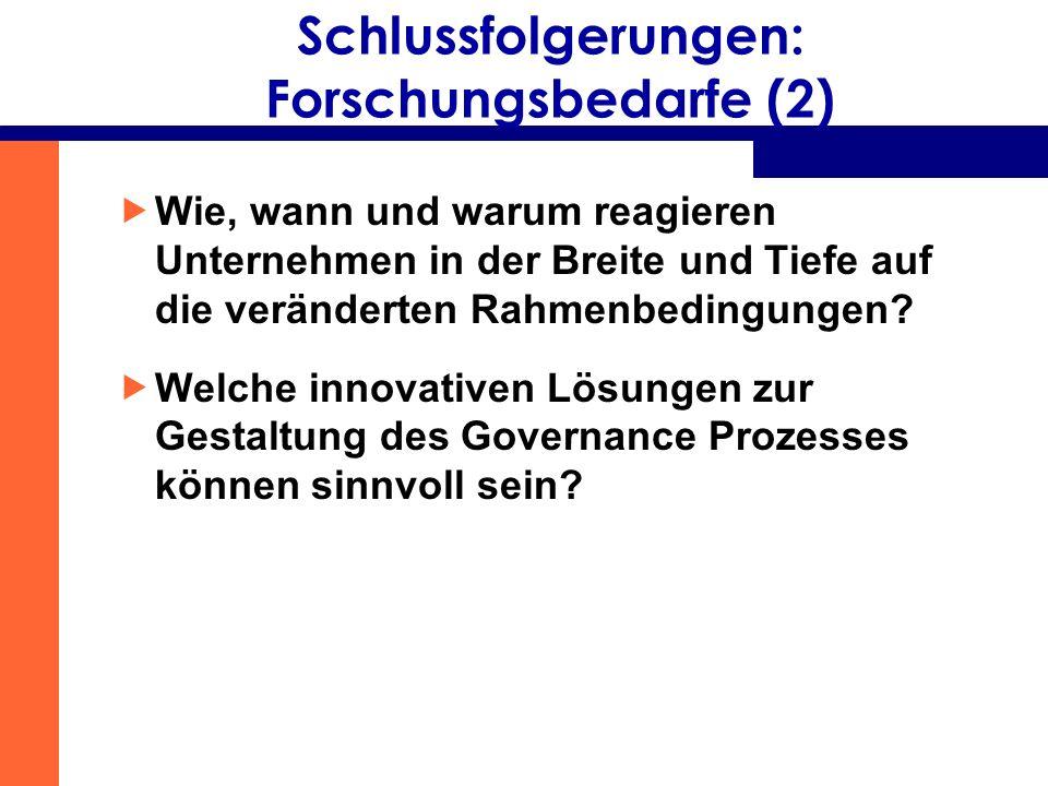 Schlussfolgerungen: Forschungsbedarfe (2) Wie, wann und warum reagieren Unternehmen in der Breite und Tiefe auf die veränderten Rahmenbedingungen? Wel