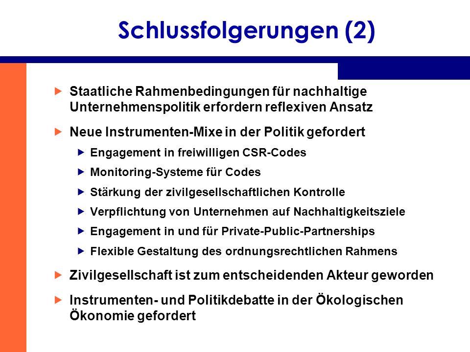 Schlussfolgerungen (2) Staatliche Rahmenbedingungen für nachhaltige Unternehmenspolitik erfordern reflexiven Ansatz Neue Instrumenten-Mixe in der Poli