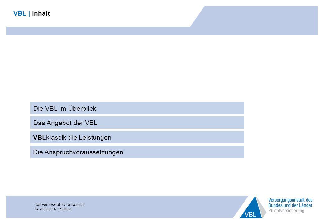Carl von Ossietzky Universität 14. Juni 2007 | Seite 2 VBL | Inhalt Die VBL im Überblick Das Angebot der VBL Die Anspruchvoraussetzungen VBLklassik di