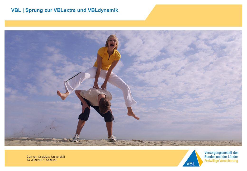 Carl von Ossietzky Universität 14. Juni 2007 | Seite 20 VBL | Sprung zur VBLextra und VBLdynamik