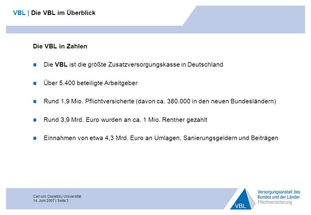 Carl von Ossietzky Universität 14. Juni 2007 | Seite 3 VBL | Die VBL im Überblick Die VBL in Zahlen Die VBL ist die größte Zusatzversorgungskasse in D