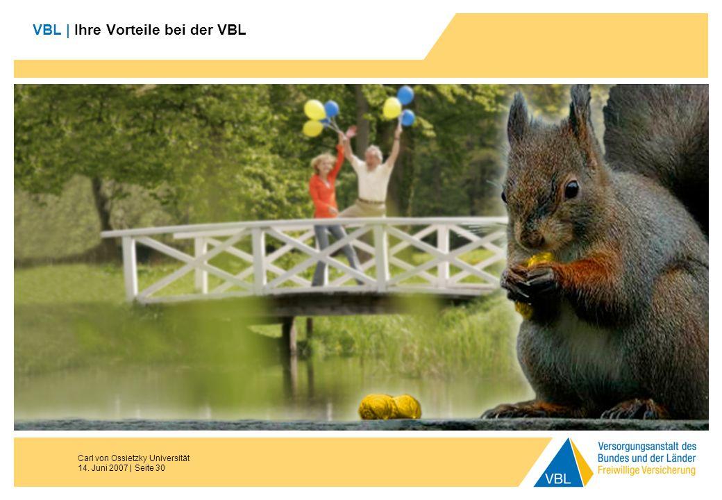 Carl von Ossietzky Universität 14. Juni 2007 | Seite 30 VBL | Ihre Vorteile bei der VBL Pause Ende