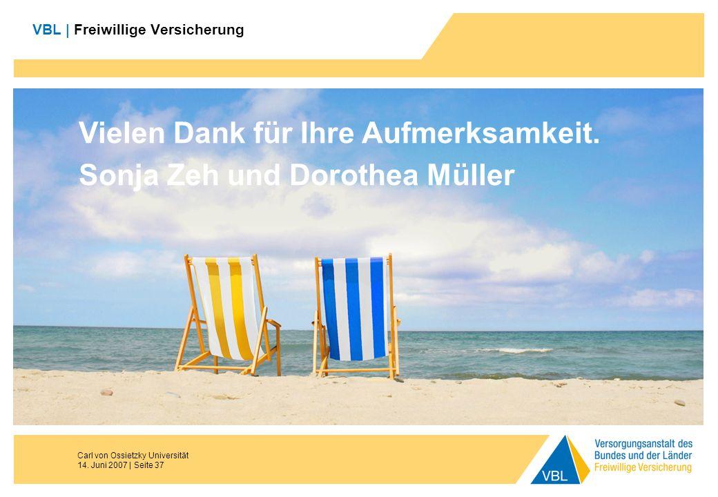 Carl von Ossietzky Universität 14. Juni 2007 | Seite 37 VBL | Freiwillige Versicherung Vielen Dank für Ihre Aufmerksamkeit. Sonja Zeh und Dorothea Mül