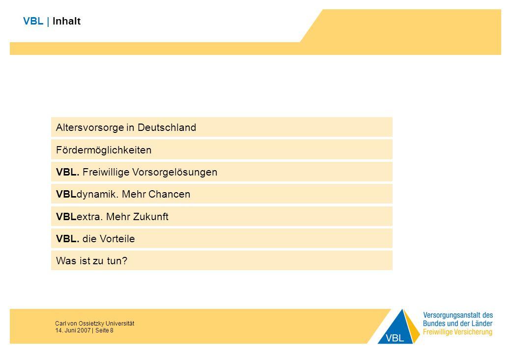 Carl von Ossietzky Universität 14. Juni 2007 | Seite 8 VBL | Inhalt Fördermöglichkeiten VBL. Freiwillige Vorsorgelösungen VBLdynamik. Mehr Chancen VBL