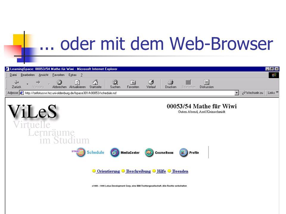 ... oder mit dem Web-Browser