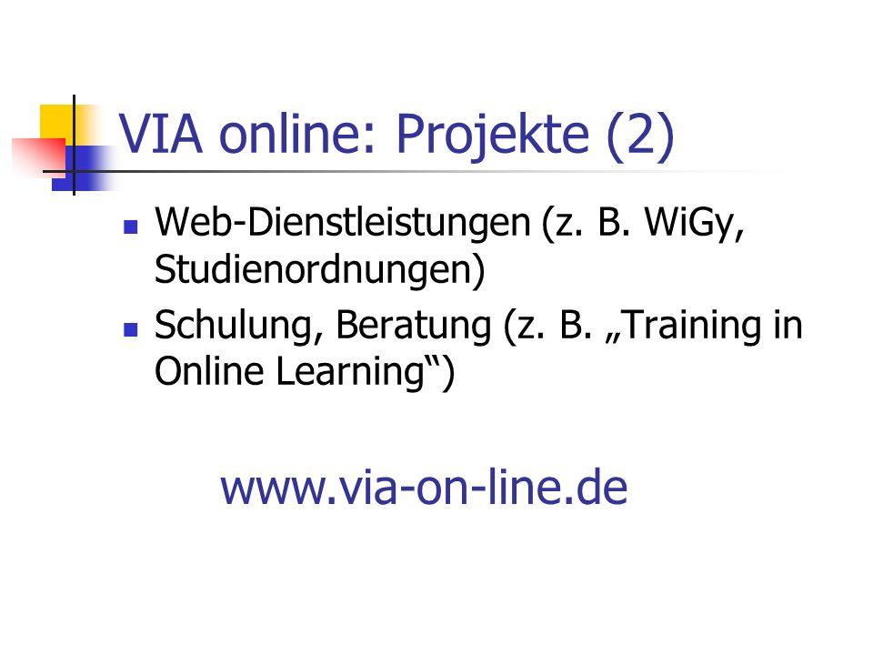 VIA online: Projekte (2) Web-Dienstleistungen (z. B.