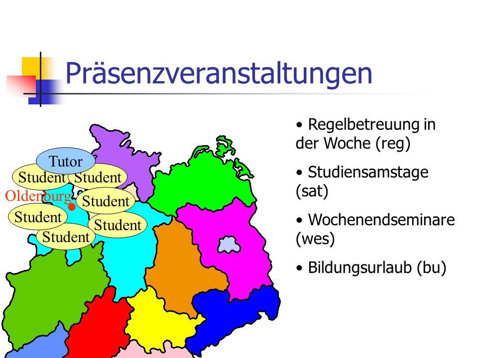 Präsenzveranstaltungen Oldenburg Student Tutor Regelbetreuung in der Woche (reg) Studiensamstage (sat) Wochenendseminare (wes) Bildungsurlaub (bu)