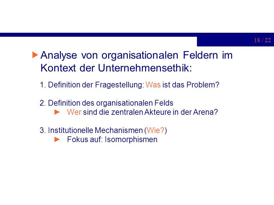 18 / 22 Analyse von organisationalen Feldern im Kontext der Unternehmensethik: 1. Definition der Fragestellung: Was ist das Problem? 2. Definition des